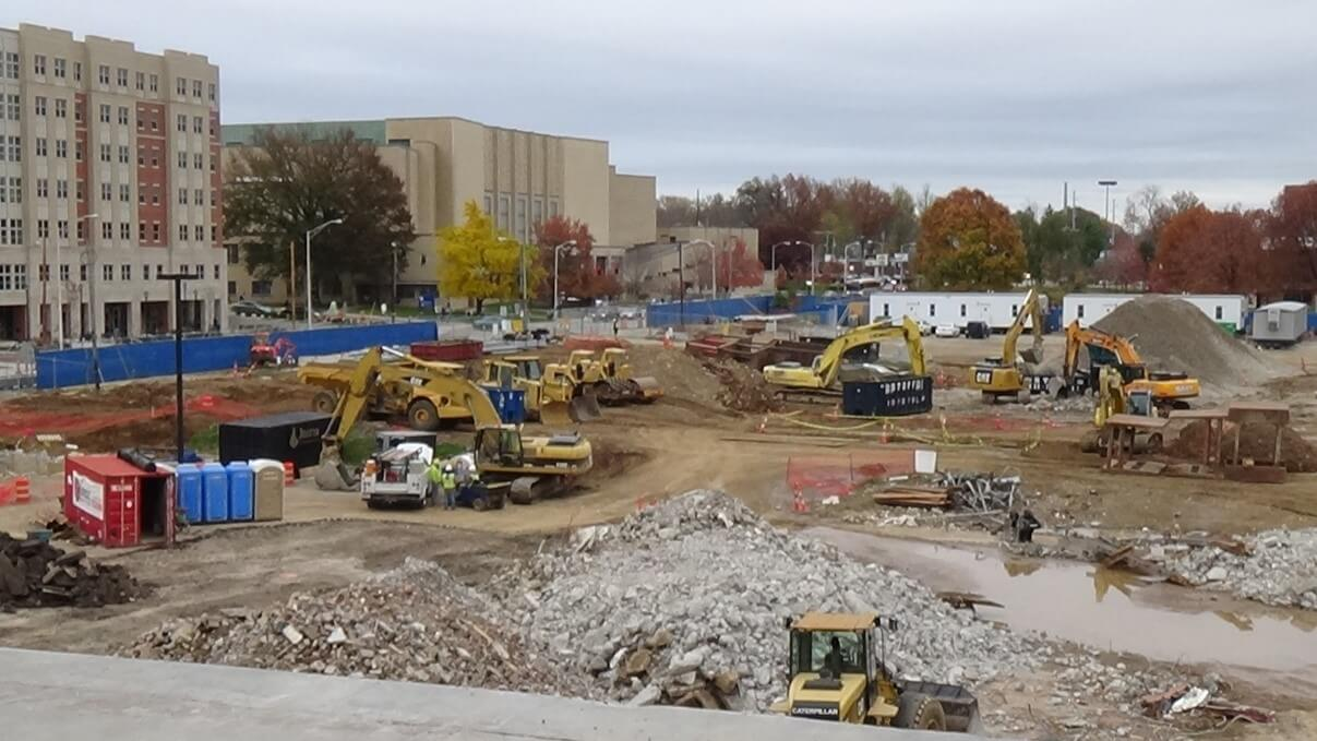 University of Kentucky (UK) Student Center site work and university construction in Lexington, Kentucky