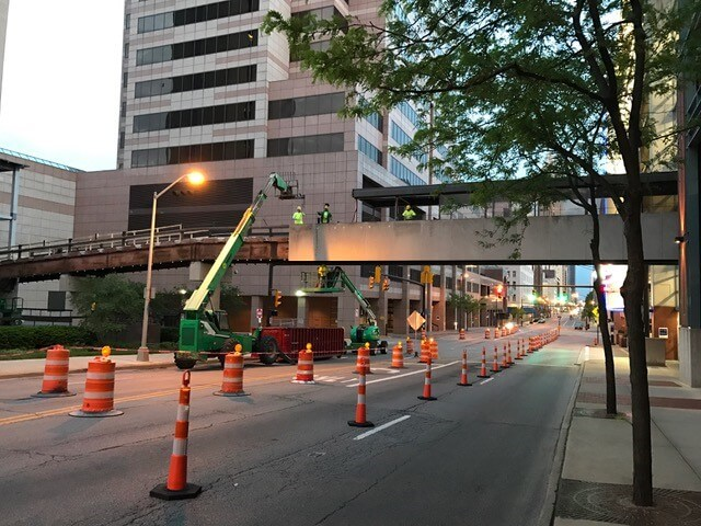 Demolition at Nationwide Skywalk Hub in Columbus, Ohio