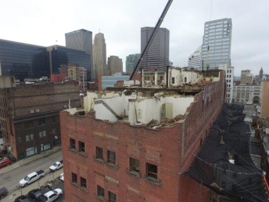 Dennison Hotel in Cincinnati, Ohio Building Demolition